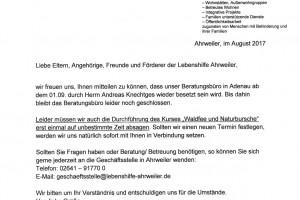 Schreiben Besetzung Büro Adenau u. Absage Naturburschen_August 2017