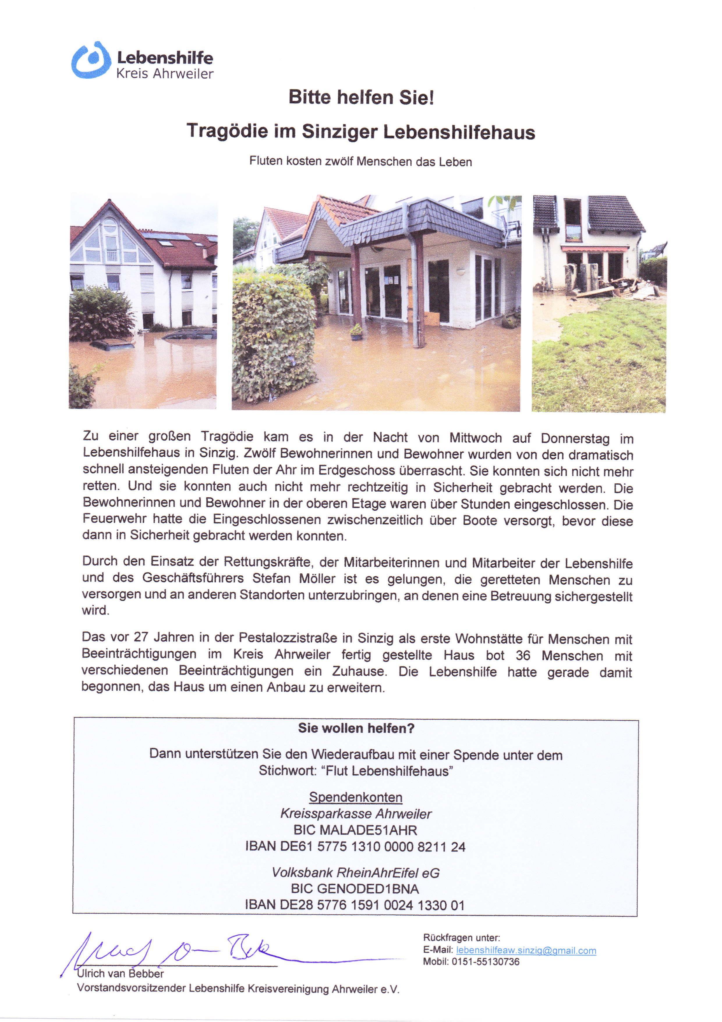 2021-07 Spendenaufruf Tragödie im Lebenshilfehaus Sinzig